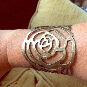 World Market Boho Cuff Bracelet Rose Design NWT